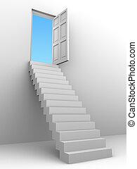 3d, treppe, öffnen, tür