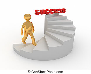 3d, treppe, erfolg, mann