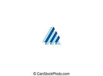 3D triangle technology vector logo