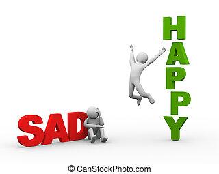 3d, triste, homem, e, feliz, pessoa