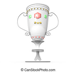 3d trophy cup on a white background isolated