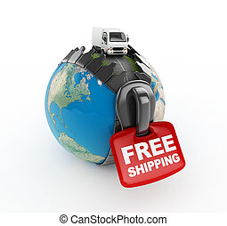 3D Truck on world -Free shipping