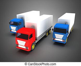3d truck transport leader concept. 3d illustration