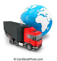 3d truck transportation with globe on white background