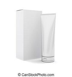 3d, tube, blanc, dos, produits de beauté