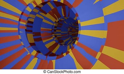 3d tunnel background in grazy colors yellow, blue and red. Dynamic animation, blender 3d render