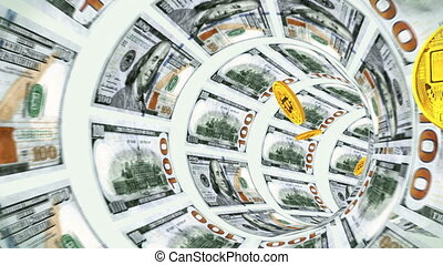3D Tunnel of dollars and flying back bitcoins
