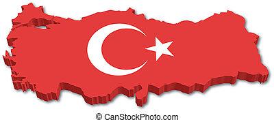 3d, turkije, kaart, met, vlag
