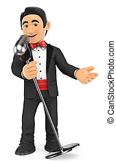 3D Tuxedo singer with microphone. Crooner - 3d bow tie...