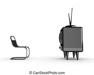 3d tv and chair isolated on white