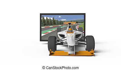 3d TV  - Racing Car flying out of TV