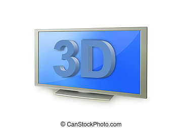 3D tv screen with 3D text