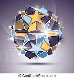 3D twinkle mirror ball with gold stars. Vector festive geometric