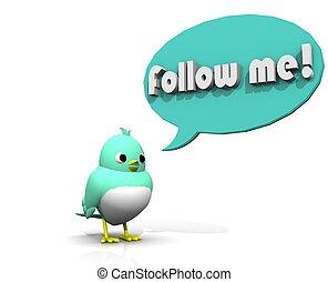 3D TWITTER BIRD FOLLOW ME - PLEASE PLEASE FOLLOW ME ON MY...