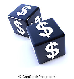 3d Two black dice marked with US Dollar symbol