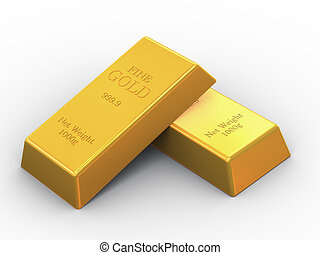 3d two fine gold bars - 3d illustration of set OF fine gold...
