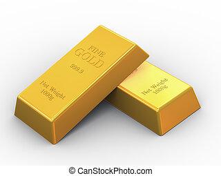 3d two fine gold bars - 3d illustration of set OF fine gold...