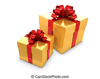3d Two gold and red gift boxes