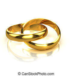 3d Two gold rings interlinked