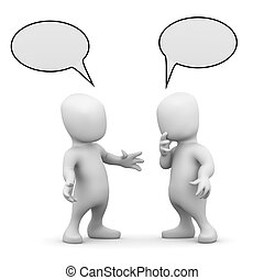 3d render of two little people talking to each other with empty speech balloons