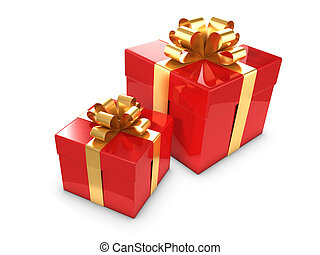 3d Two red and gold gift boxes