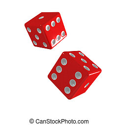3d Two red dice falling