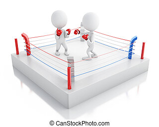 3d Two white people boxing in the ring.