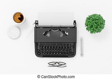 3d typewriter on white background