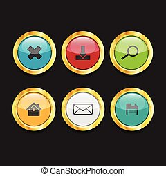 3D ui Circle button Icon Set