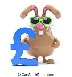 3d UK Pound bunny