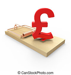 3d UK Pounds Sterling currency symbol on mousetrap