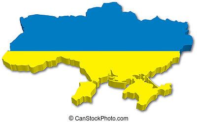 3D Ukraine map with flag
