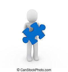 3d, umano, blu, puzzle