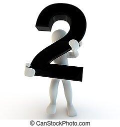 3d, umano, carattere, presa a terra, nero, numero 2,...