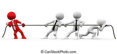 3d, umano, tirare, corda