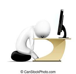 3d, umano, work., stanco