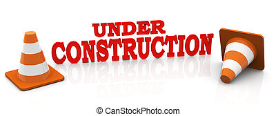 3d under construction - 3d render of red text 'under...