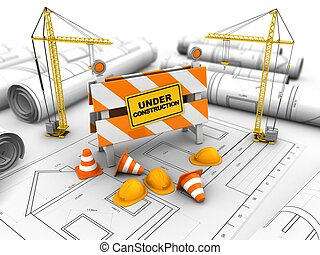 3d under construction stand - 3d illustration of cranes over...