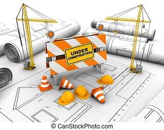 3d under construction stand - 3d illustration of cranes over...