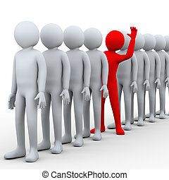 3d illustration of unique red person stepping out from row of people. 3d rendering of human people character.
