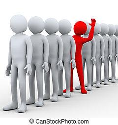 3d unique man in row - 3d illustration of unique red person...