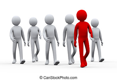 3d illustration of group of people following their leader. 3d rendering of human people character.