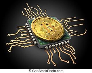 3d, unité centrale traitement, bitcoin