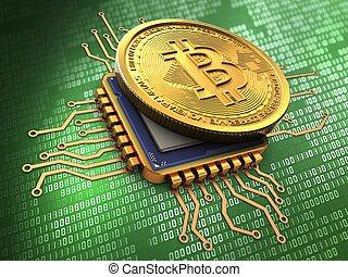 3d, unité centrale traitement, or, bitcoin