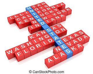 3d United States country concept. Crossword with letters