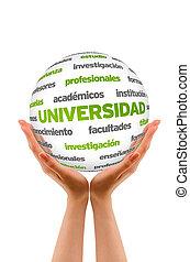 3d, universidade, palavra, esfera, (in, spanish)