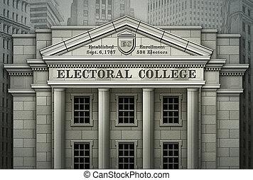 3d, università, illustrazione, elettorale