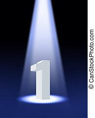 3d, uno, número, proyector, debajo
