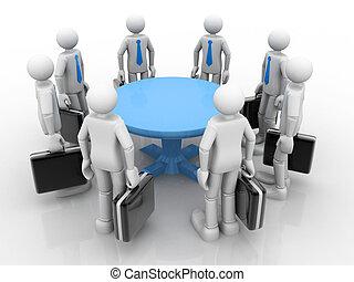 3d, uomini affari, standing, a, uno, tavola rotonda, e, detenere, riunione affari