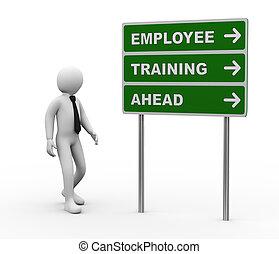 3d, uomo affari, addestramento impiegati, avanti, roadsign